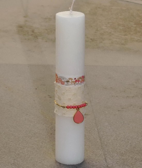 Easter candle Enamel Long Necklace Pink
