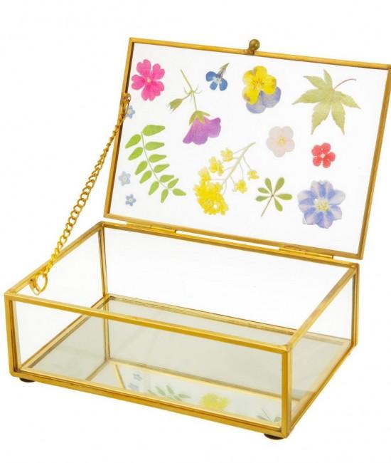 Pressed Flowers Glass Jewelry Box