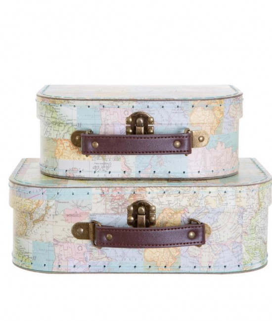 Vintage Map Collage Suitcases (sold separately)