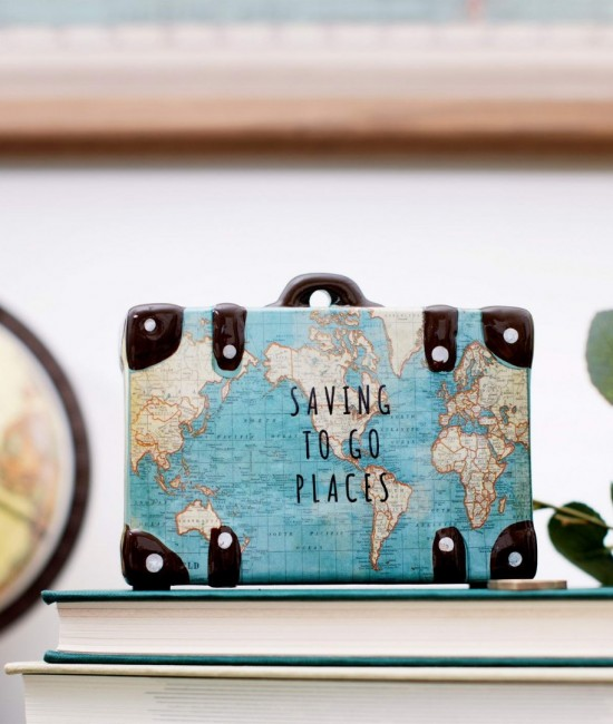 Saving to Go Places Vintage Map Money Bank